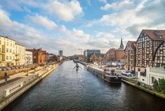 Kanal i Bydgoszcz, Polen arkivbilder