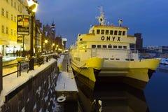 Kanal i Gdansk på natten. Royaltyfria Foton