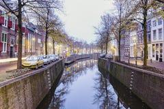 Kanal i gouda arkivfoton