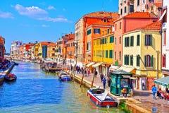 Kanal i Venedig Italien arkivfoton