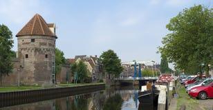 Kanal i Zwolle, Nederländerna Fotografering för Bildbyråer