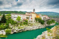 Kanal, Slovenia. Kanal, a little town in Slovenia by the river Soca Royalty Free Stock Photos