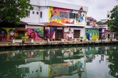 Kanal in Malakka, Malaysia stockbilder
