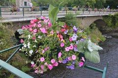 Kanal med blommor på en bro royaltyfri foto