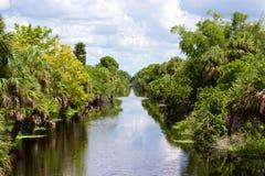 Kanal med träd på sida Arkivfoton