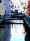 Kanal in Memmingen Stockbild
