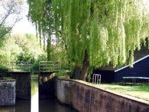 Kanal och gammalt vattenlås arkivbild