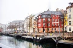 Kanal och Ved Stranden gata, Köpenhamn arkivbild