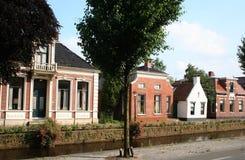 Kanal Overdiepen i Veendam arkivbild
