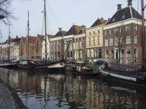 Kanal på Groningen Nederländerna Arkivbilder