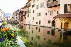 Kanal på Annecy, Frankrike Royaltyfri Fotografi