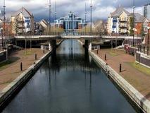 Kanal på Salford kajer, Manchester Arkivfoto