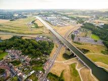 Kanal Pont du Sart Aqueduct in Belgien lizenzfreie stockbilder