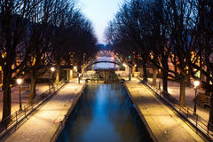 Kanal Saint-Martin, Paris stockfoto