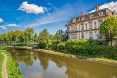 Kanal in Straßburg, Elsass, Frankreich Lizenzfreie Stockbilder