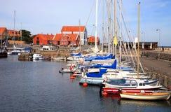 Kanal in Svaneke, Bornholm, Dänemark Stockfotografie