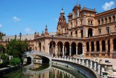 Kanal u. Steg, Plaza de Espana, Sevilla. Stockfoto