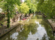 Kanal in Utrecht, Holland Stockbilder