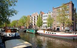 Kanal von Amsterdam, Hausboote Lizenzfreie Stockbilder