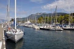 Kanal von Evian-les-Bains in Frankreich Stockfotografie