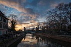 Kanal von Fluss Kranken im Bezirk von La Petite France in Strasb lizenzfreies stockfoto