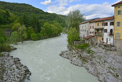 Kanal. The waterfront houses in the small western Slovenian town of Kanal. The Soca river was unusally full at the time the photograph was taken Stock Images