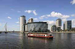 Kanalboot, Salford Quats, Manchester, England Lizenzfreie Stockbilder