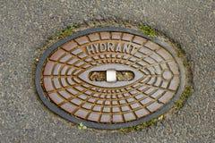 Kanaldeckel auf der Straße in Deutschland Lizenzfreies Stockfoto