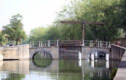 Kanalen in Brugge Stock Foto