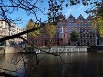 Kanalen en huizen van de stad van Amsterdam, in Holland, Nederland royalty-vrije stock afbeelding