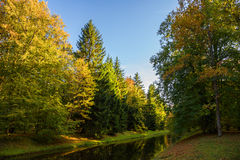 Kanalen i den färgrika hösten parkerar arkivfoto