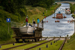 Kanalen lutade ned nivån på den ElblÄ… G-kanalen arkivbilder