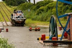 Kanalen lutade ned nivån på den ElblÄ… G-kanalen royaltyfria bilder