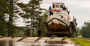 Kanalen lutade ned nivån på den ElblÄ… G-kanalen royaltyfri fotografi