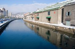Kanalen in Otaru Royalty-vrije Stock Fotografie