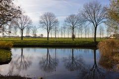 Kanalen van Amstelveen, de herfsttijd Royalty-vrije Stock Foto