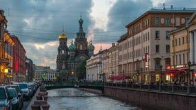 Kanalen van Heilige Petersburg tijd-tijdspanne stock footage