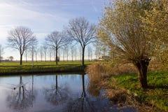 Kanaler av Amstelveen, hösttid Arkivbild