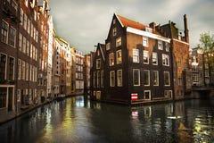 Kanaler i Amsterdam Fotografering för Bildbyråer