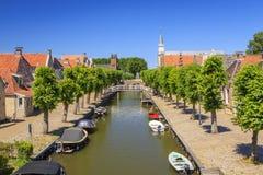 Kanaler i Sloten, Frisian, Nederländerna arkivfoton
