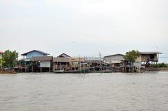 Kanalfluß Knall Khun Thian zum Meer in Bangkok Thailand Lizenzfreie Stockbilder