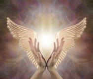 Kanaliserende Angelic Golden Healing Energy stock afbeelding