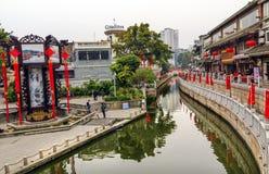 Kanallitchiplommonfjärd Luwan Guangzhou Guangdong Kina Arkivfoto