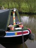 kanalnarrowboatprow Arkivfoto
