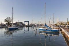 Kanalport i Rimini, Italien Arkivbild
