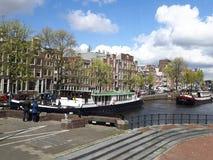 Kanalsikten i Amsterdam Arkivbild