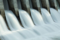 Kananaskis Hydro Electric Dam c1. Close up time exposure of the spillway on the Kananaskis hydroelectric dam on the Bow River, Alberta, Canada Stock Photography