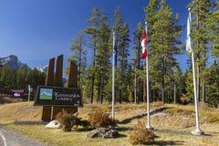 Kananaskis landsvägmärke i Canmore den nordiska mitten fotografering för bildbyråer