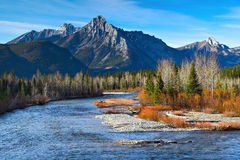 Kananaskis River. An autumn look at the Kananaskis River in the Canadian Rockies royalty free stock photography