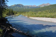 Kananaskis River with Nakiska ski hill Royalty Free Stock Photography